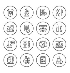 set round line icons of pharmaceutical industry vector image vector image