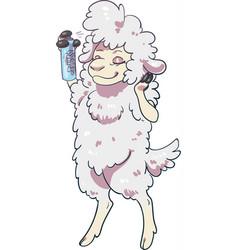 sheep using hairspray styling its hair vector image