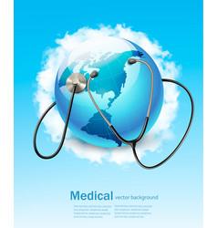 Stethoscope against a globe vector