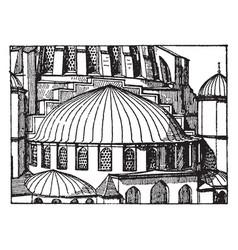 Suleimani mosqueapse semi-dome vintage engraving vector