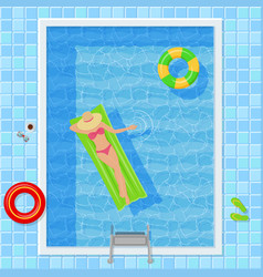 Swimming pool with woman top view vector