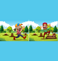 Two lumber jack chopping woods vector