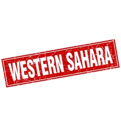Western sahara red square grunge vintage isolated vector