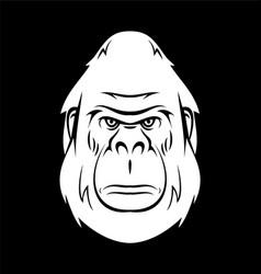 White gorilla head vector
