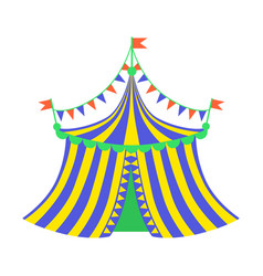 Yellow and blue circus tent part of amusement vector