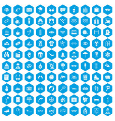 100 glasses icons set blue vector image vector image
