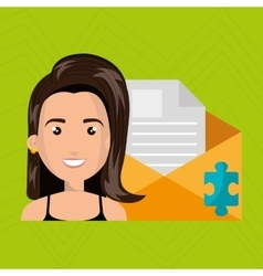 Woman message document icon vector