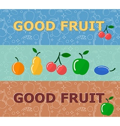 Set of horizontal banners with fruits on bright vector