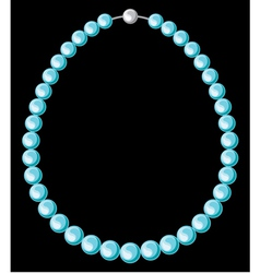 Turquoise pearl necklace vector
