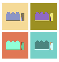Assembly flat icons wave height vector