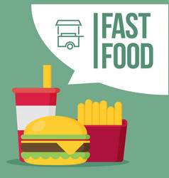 french fries humburger and soda takeaway vector image