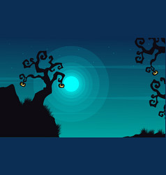 Halloween background scenery at night vector