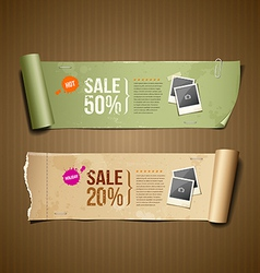 Vintage paper roll ripped for business design vector