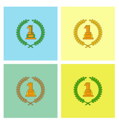 first place icon golden number one symbol vector image