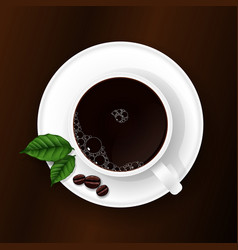 cup of coffee on a brown background vector image