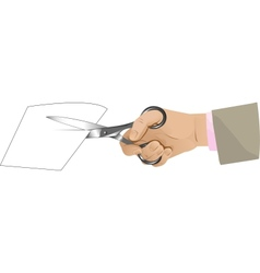 Hand with scissors cutting paper vector image