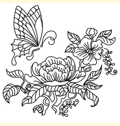 Peony and butterfly bw vector