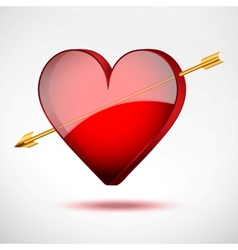 Background heart and arrow valentines day card vector