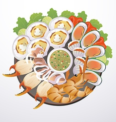 Dish of seafood vector