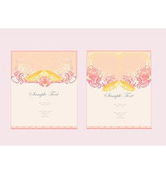 Wedding invitation card with rings set vector
