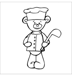Outlined bear cook toy Isolated on white vector image