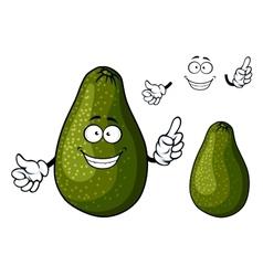 Smiling ripe green avocado fruit character vector image