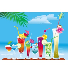 cocktails on the beach on sky background vector image