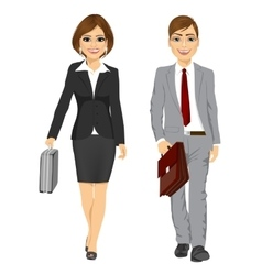 Young business man and woman walking forward vector