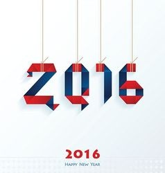 Happy new year card red and blue color vector