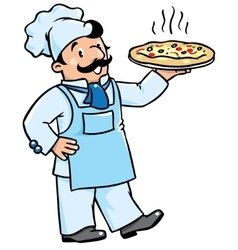 Funny cook or chef with pizza vector