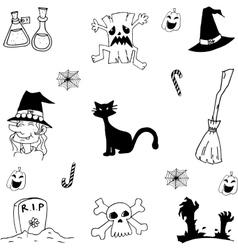 Scary element halloween doodle vector