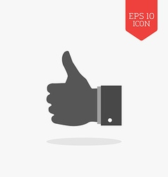 Thumb up like icon flat design gray color symbol vector