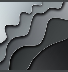 Abstract curved grey wavy background paper cut vector