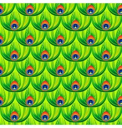 Abstract green peacock feathers vector