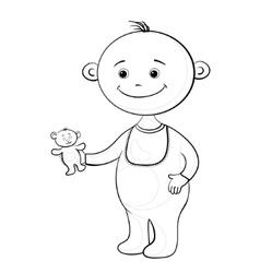 baby with a teddy bear vector image