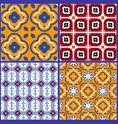 blue and yellow spanish seamless ceramic tile vector image vector image