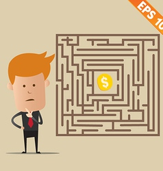 Business man finding exit route of labyrinth - vector image vector image