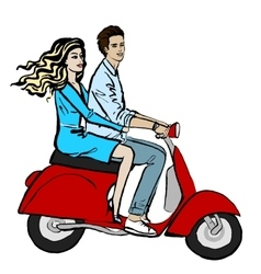 couple driving scooter vector image vector image