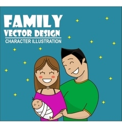 Cute cartoon young couple holding baby vector image
