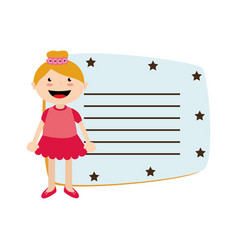 Cute little girl card character vector
