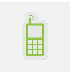 Green icon - mobile phone with antenna and signal vector