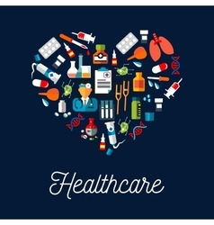 Healthcare equipment icons shaped as heart vector