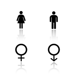 Man and woman silhouettes drop shadow icons set vector image vector image