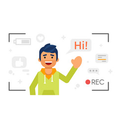 man that records video blog vlog concept vector image vector image