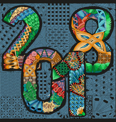 number 2018 zentangle decorative object number vector image vector image