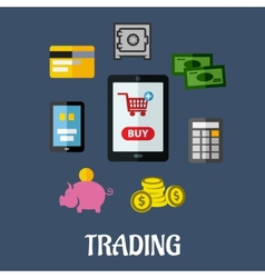 Online trading flat concept vector image