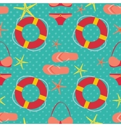 Seamless pattern with flat travel icons vector image