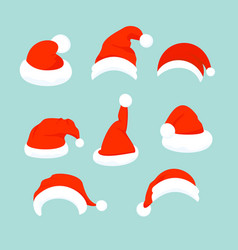 set of santa hats in flat vector image