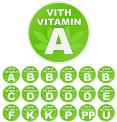Set of stickers with vitamin vector