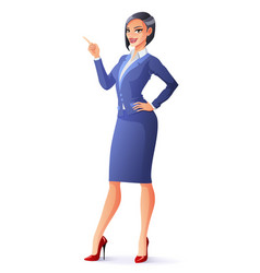 smiling business woman in suit with finger vector image